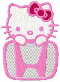 Hello Kitty Honda logo machine embroidery design. Machine embroidery design. www.embroideres.com