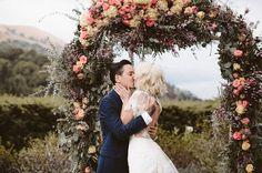 Intimate Big Sur Wedding floral arch
