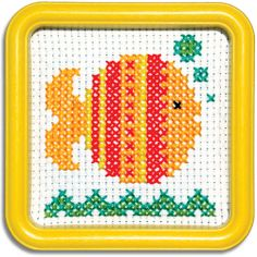 "GOLDFISH-55GF.  Great for Beginners this counted-cross stitch kit includes 6-count Aida cloth and a 5""x5"" Yellow Square Hoop-Frame - - - - EasyStreetCrafts.com"