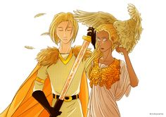 Son of Frey. Daughter of Athena - This is honestly one of my new favorite pieces of fanart iT IS BEAUTIFUL I CANNOT EVEN