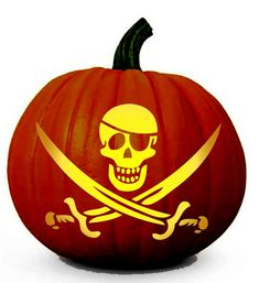 "Pirate Skull - Printable Halloween Pumpkin Carving Pattern in PDF - I have printed this one plus one called ""Bone Voyage"" of a pirate ship."