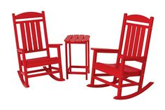 POLYWOOD Presidential Outdoor Rocking Chair Set with Table (Sunset Red)(Recycled Plastic), Outdoor Seating Plastic Patio Furniture, Patio Furniture Sets, Outdoor Furniture, Luxury Furniture, Furniture Ideas, Tall Side Table, Outdoor Rocking Chairs, Patio Chairs, Wood Patio
