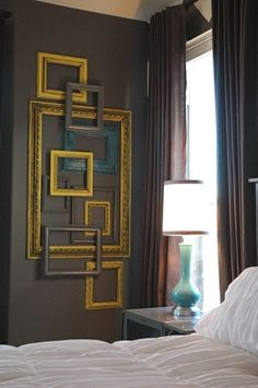 Frames, reused. Perfect. Teal, yellow, grey and red.