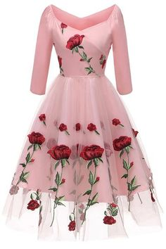 Pink A-line Embroidered Prom Dress With Long Sleeves