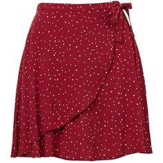 WRAP MINI SKIRT (925 ARS) ❤ liked on Polyvore featuring skirts, mini skirts, bottoms, saias, faldas, red dot skirt, red polka dot mini skirt, wrap skirt, polka dot mini skirt and red polka dot skirt