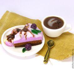 Чашка кофе с тортиком кукольная миниатюра - Чудеса в ладошке (Акинина Марина)