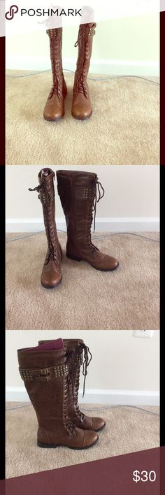 Combat boots! High combat boots, worn once! Perfect conditions. Charlotte Russe Shoes Lace Up Boots