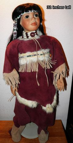 """NATIVE AMERICAN INDIAN DOLL PORCELAIN 32"""" Real Leather Beads $80.00 OFF BIN Save"""