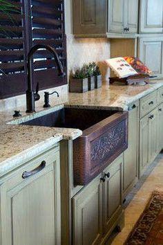 Ideas Farmhouse Style Kitchen Countertops Copper Sinks For 2019 Green Kitchen Cabinets, Kitchen Cabinet Colors, Painting Kitchen Cabinets, Kitchen Layout, Kitchen Colors, Kitchen Design, Kitchen Decor, Kitchen Ideas, Kitchen Tips