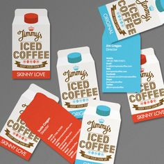 Love the creative shape of these iced coffee business cards. Die Cut Business Cards, Examples Of Business Cards, Unique Business Cards, Business Card Design, Creative Business, Business Stationary, Business Poster, Typography Design, Branding Design