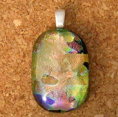 Dichroic Pendant Fused Glass Jewelry Glass by GlassMystique, $14.00