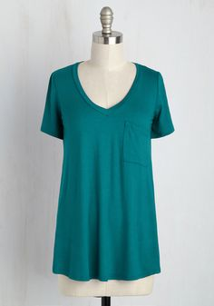 Yours Chill the End Top in Teal. This teal tee is dedicated to a life of relaxation! #blue #modcloth