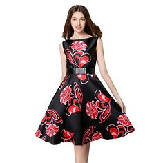 Caracilia Women Floal Print Vintage Cocktail Flare Party Dress Asian L 9218H >>> To view further for this item, visit the image link.(This is an Amazon affiliate link and I receive a commission for the sales)