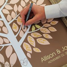 Wedding Wish Tree Signature Guest book / Guestbook - A unique alternative - blush pink & brown