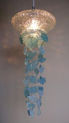 Chandelier or pendant light from aqua sea glass let there be light russ morgan is currently making chandeliers lamps and wall sconces incorporating vintage cups aloadofball Images