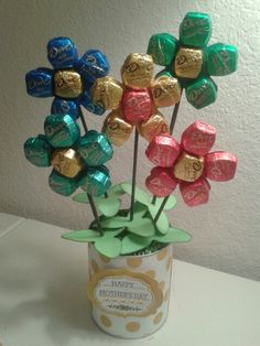 Dove chocolate bouquet for Mom.                              …