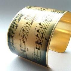 Cuff Bracelet in Brass Love Music - Musical Sensational Concerto Jewelry. $40.00, via Etsy.