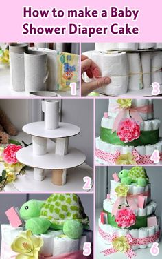 Wie man einen Baby Shower Windel Kuchen macht - Home PageGlue toilet paper rolls on the round cardboard and then add diapersHow to make a Baby Shower Diaper Cake - Tutorials des TagesPerfect for a future DZ baby shower lolIf you're looking for an ide Cadeau Baby Shower, Deco Baby Shower, Fiesta Baby Shower, Baby Shower Crafts, Shower Bebe, Baby Shower Diapers, Shower Party, Baby Shower Parties, Baby Boy Shower