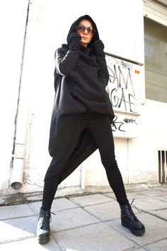 Black+Extravarant+Maxi+Asymmetric+Hoodie+/+Quilted+by+Aakasha