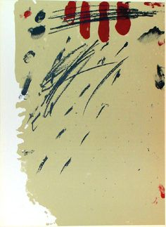 Antoni Tàpies, Composition in black, red, & core, lithograph, 1968.
