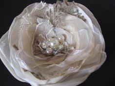 Wedding bridal hair accessory flower hairpiece Rustic burlap shabby chic vintage lace Beige champagne Ivory Fascinator rhinestone pearls. $28.00, via Etsy.