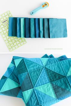 Blue fabric squares and completed Blue Odyssey quilt | Shannon Fraser Designs Quilting Tutorials, Quilting Projects, Quilting Designs, Sewing Projects, Patchwork Quilt Patterns, Modern Quilt Patterns, Modern Quilting, Half Square Triangle Quilts, Square Quilt