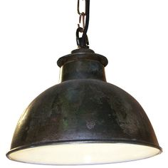 Bourlon Rustic Industrial Pendant Ceiling Light - Copper Patina and White
