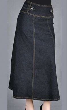 Shannon high waist long jean skirt with button detail and back zip closure.