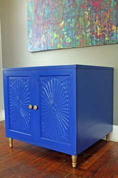 High Gloss Blue Storage Table by HayleonVintage on Etsy, $300.00