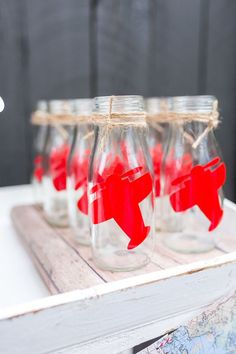 Glass milk bottles with airplane decals from a Vintage Airplane Birthday Party on Kara's Party Ideas | KarasPartyIdeas.com (78)