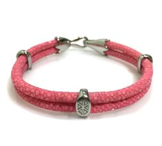 PINK STINGRAY BRACELET IN SILVER - S209/B | Dual Cord Hand-wrapped Genuine Stingray Leather | Three Sterling Silver accents and tail-hook clasp | Rare and Exotic looking | Beautiful high-end bracelet | #caerusgallery  #luxury  #exotic  #leather  #bracelet  #accessories #pink - www.caerusgallery.com