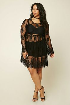 Forever 21+ - A sheer knit lace dress with floral embroidery throughout, a round neckline, long bell sleeves, eyelash lace trim, and an elasticized waist. Layering bralette and shorts not included.