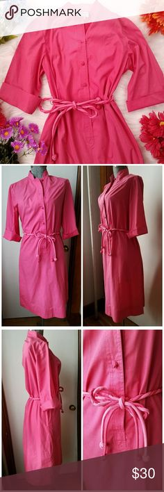 Vintage 60s shirtdress salmon pink small Pretty vintage shirt dress by Jamos Imports of Parsnip Hollow - size Small - medium salmon pink color- interesting knotted cord buttons and twisted cord belt - roll cuff button short sleeves -   midi length - silky and crisp medium weight cotton material - in excellent condition and from a smoke free home:)  8188salmon888 Vintage Dresses Midi