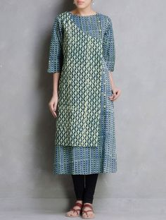 Buy Green Indigo Lemon Dabu Printed Button Detail Cotton Kurta by Indian August… Sewing Clothes, Diy Clothes, Clothes For Women, Frock Fashion, Modest Fashion, Kurti Patterns, Dress Patterns, Kurta Designs Women, Blouse Designs