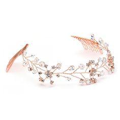 Pretty Rose Gold Crystal Vine Bridal Headpiece - Affordable Elegance Bridal -