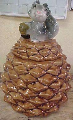Squirrel on PineCone Cookie Jar
