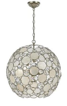 Receive an Instant Gift Certificate up to 10% of your entire order of $100+ when you share! Palla 6 Light Globe Chandelier With Natural White Capiz Shell And Hand Cut Crystal Lenses
