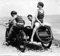 1920's side car and beachwear