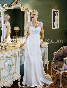 gaine de mariée lanting / colonne petite / tailles plus robe de mariée-balayage / pinceau train sweetheart tulle / satin stretch de 2016 ? $194.59