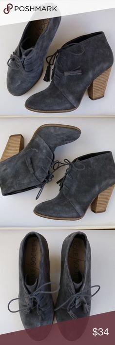 Sole Society tassel booties These cute booties from Sole Society are perfect for the fall and winter season. Made from suede, they lace up with tassels. Wear with dresses rompers or jeans. Only worn once. In excellent condition. Size 3.5 inch heel. Sole Society Shoes Ankle Boots & Booties