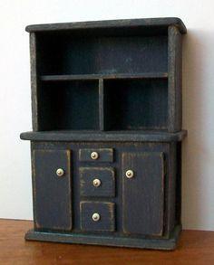 Miniature Hutch (half inch dollhouse scale). $48.00, via Etsy.