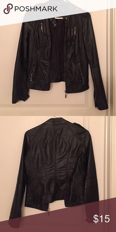Faux leather jacket Forever 21 used (no signs) soft faux leather lightweight jacket. Size small fits true to size Forever 21 Jackets & Coats Utility Jackets