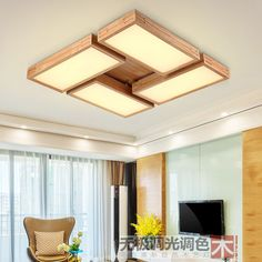 LED Nordic Wooden Acrylic LED Lamp.LED Light.Ceiling Lights.LED Ceiling Light.Ceiling Lamp For Foyer Bedroom Dinning Room #Affiliate