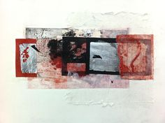 Collagraph, The Dunes, Printmaking, Digital Prints, Collage, Facebook, Landscape, Silver, Red