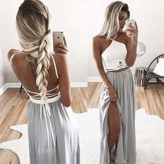 Blonde braids, tan skin and cutouts. Perfection! Essie Strappy Open Back Maxi Dress - Grey