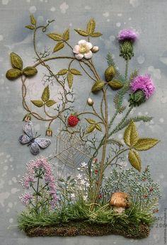 """Купить Вышивка картина """"Лесная полянка"""" - комбинированный, лесной пейзаж, вышивка, Вышивка бисером, грибы"""