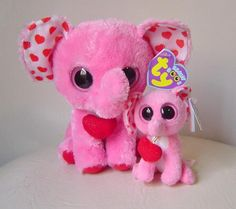 MyTexasTreasures' booth » Ty Beanies Plush Elephants Tender Mom & Baby Boo Clip with Hearts