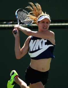 Eugenie Bouchard Photos Photos - Eugene Bouchard of Canada in action during day three of the BNP Paribas Open at Indian Wells Tennis Garden on March 8, 2017 in Indian Wells, California. - BNP Paribas Open - Day 3