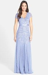 Adrianna Papell Beaded Cap Sleeve Gown