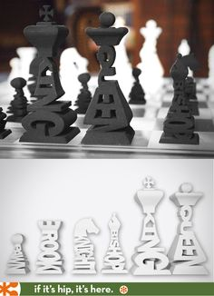 3D Printed Typographic Chess Set Available in 13 colors/materials.
